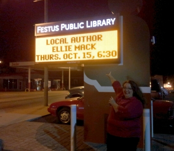 Local Author Signing - my name in lights.  Can you believe it?